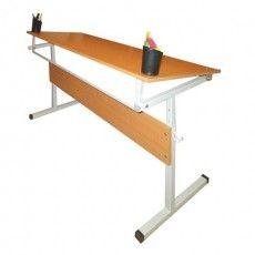 Стол-парта 2-местный, регулируемый угол (1200х500х520-640 мм), рост 2-4, серый каркас, ЛДСП, бук, Ш-304 (2-4) М