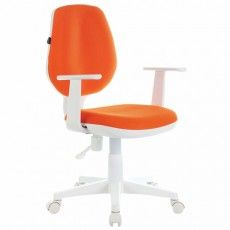 "Кресло BRABIX ""Fancy MG-201W"", с подлокотниками, пластик белый, оранжевое, 532410, MG-201W_532410"