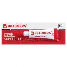 Клей моментальный (суперклей) BRAUBERG, 3 г, ПРОЧНЫЙ, отрывная мультикарта, 605566
