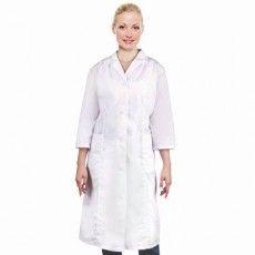 Халат медицинский женский белый, рукав 3/4, тиси, размер 52-54, рост 158-164, плотность ткани 120 г/м2, 610748
