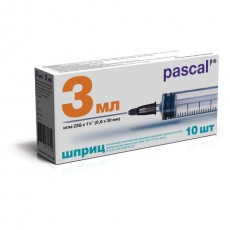 Шприц 3-х компонентный PASCAL, 3 мл, КОМПЛЕКТ 10 шт., в коробке, игла 0,6х30 - 23G, 120305