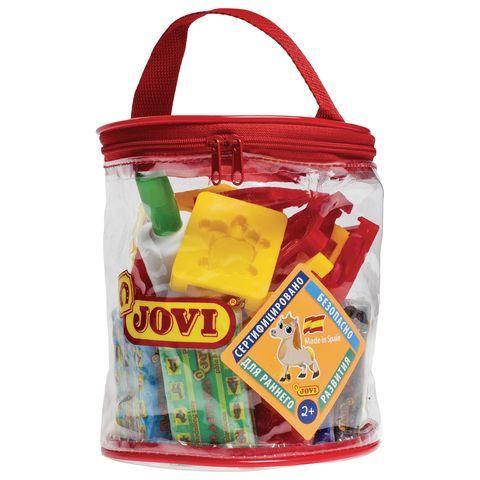 Пластилин JOVI (Испания), набор, 12 цветов, 600 г, 12 формочек, 3 стека, скалка, в контейнере, 340